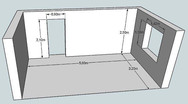 Размеры комнаты для измерения площади стен