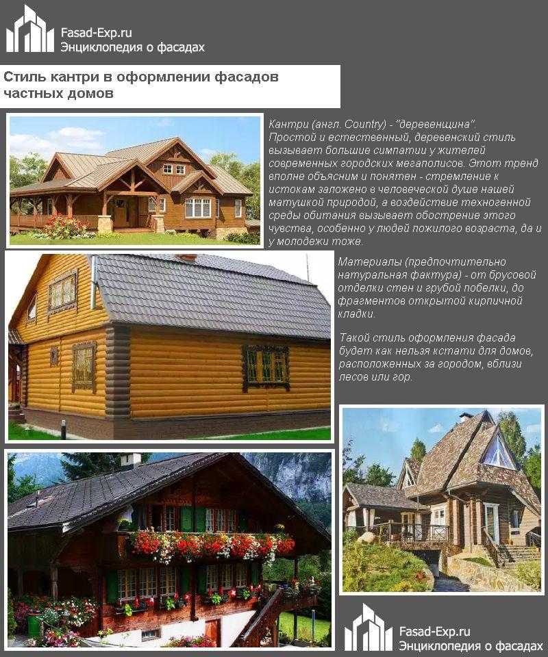 Стиль кантри в оформлении фасадов частных домов