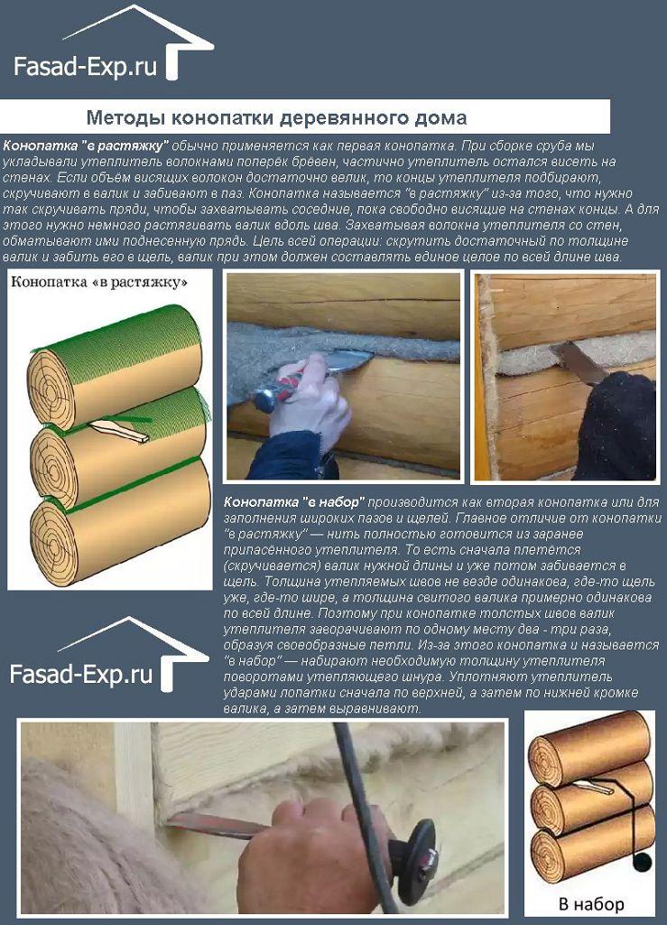 Методы конопатки деревянного дома