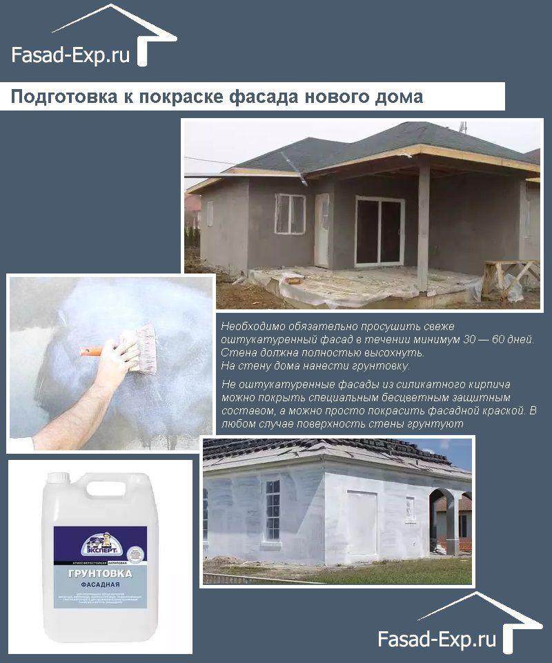 Подготовка к покраске фасада нового дома