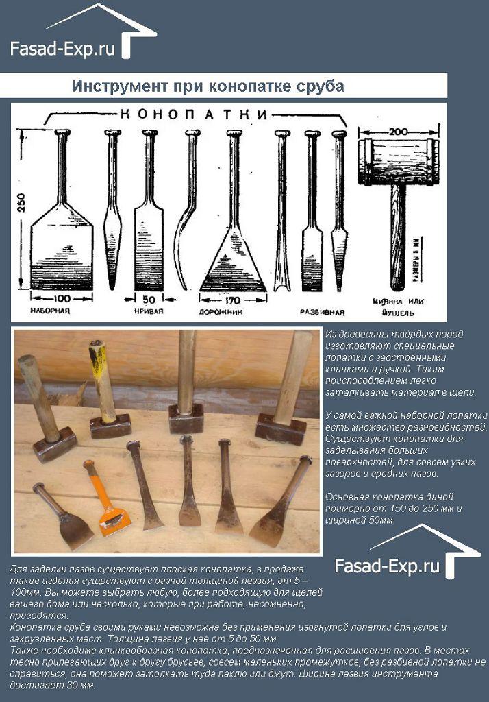 Инструмент при конопатке сруба