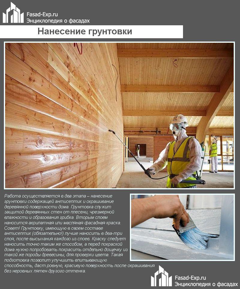 Нанесение грунтовки на фасад деревянного дома