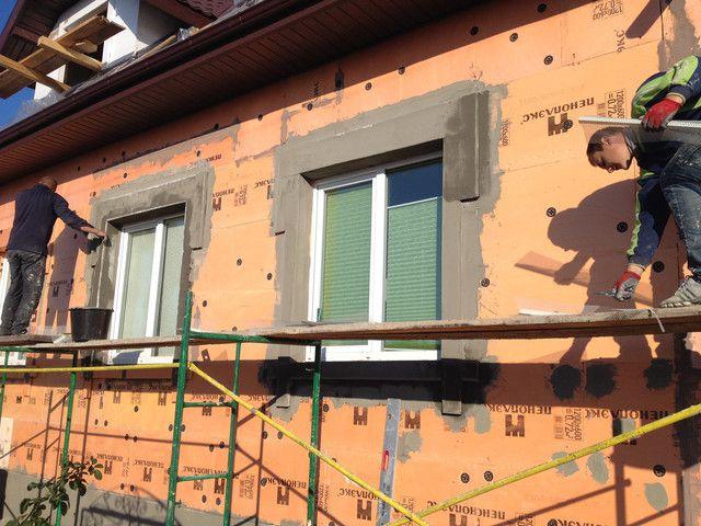 утепление фасада пеноплексом 5см и обромление углов пеноплексом 2см