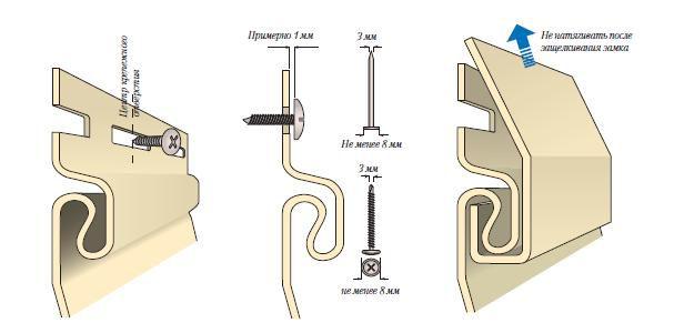 Не дотягивайте саморезы вплотную к панели. Оставляйте зазор примерно 1 мм между головкой крепежа и сайдинговой панелью.