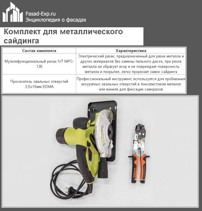 Комплект для металлического сайдинга