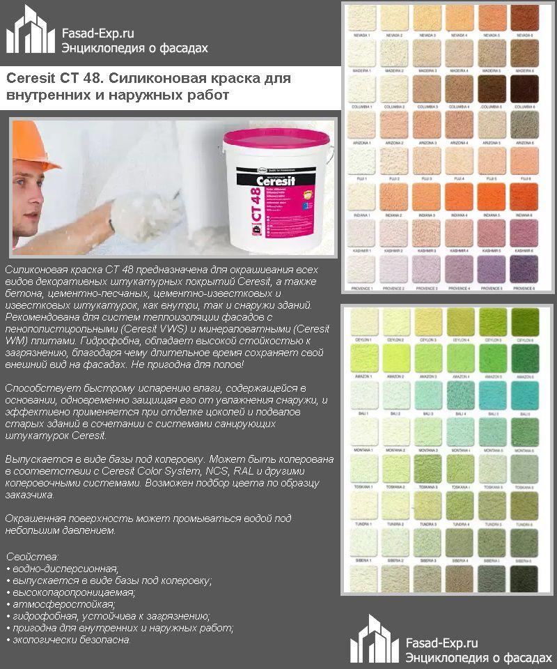 Ceresit CT 48. Силиконовая краска для внутренних и наружных работ
