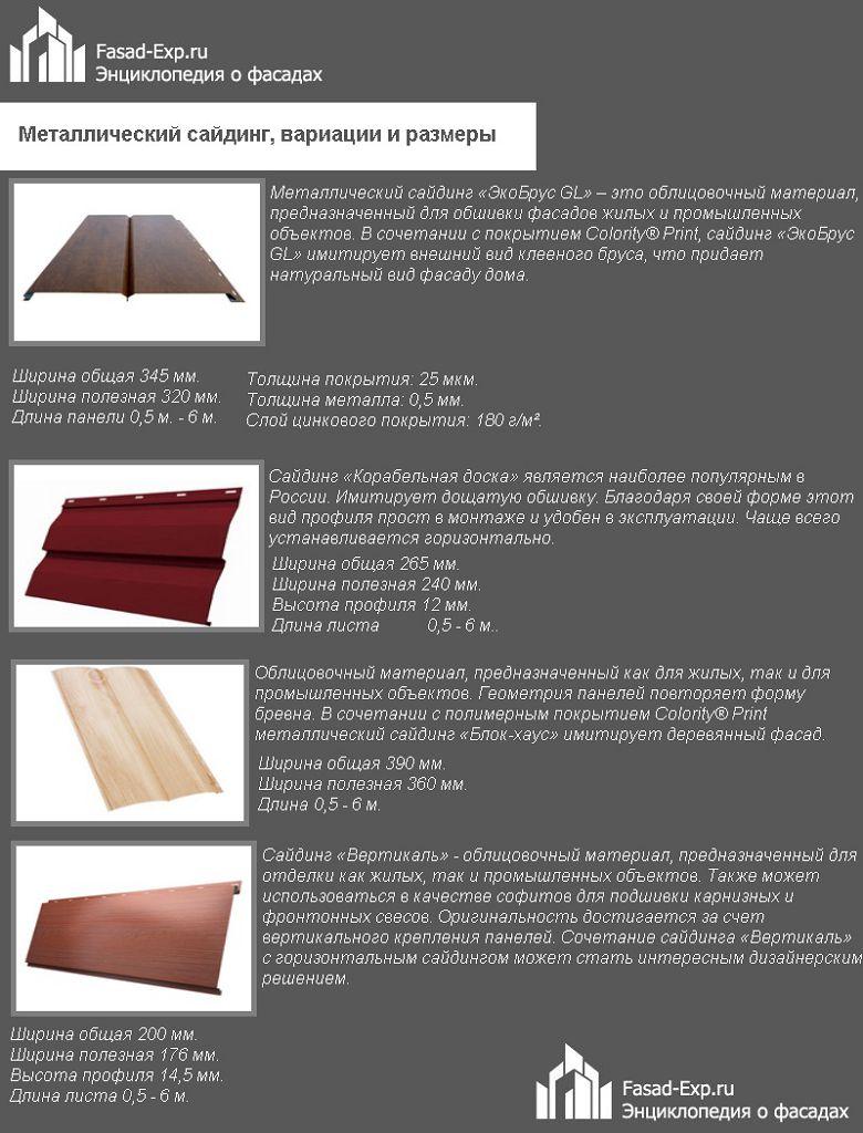 Металлический сайдинг, вариации и размеры