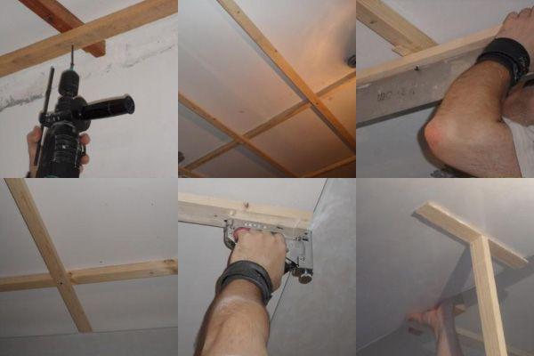 Крепление ПВХ панелей на потолок балкона