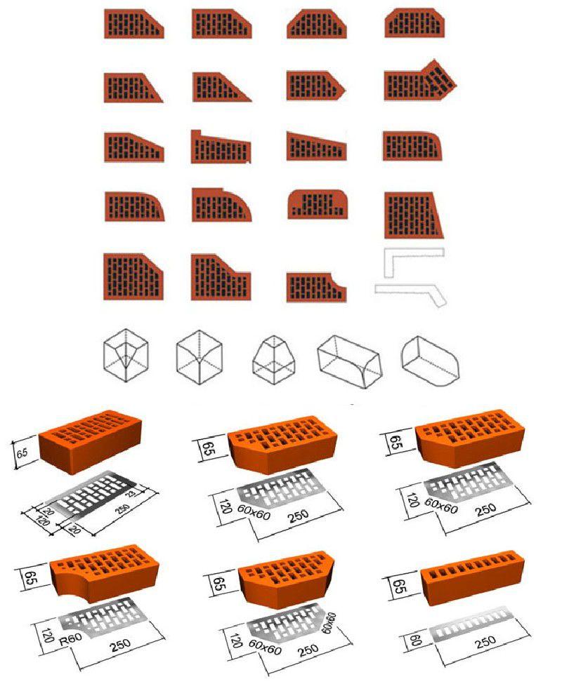 Характерные формы и размеры клинкерного кирпича