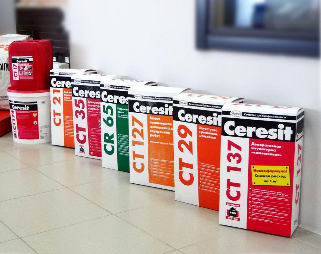 На фото показаны модифицированные сухие смеси от компании Ceresit
