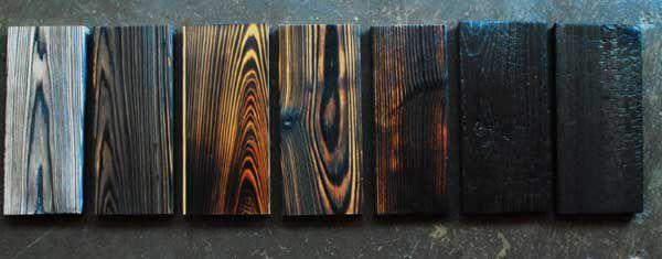 Обожженная древесина, образцы