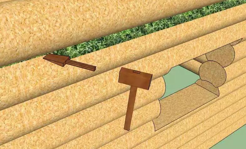 Принцип конопачения прост - плотно забить уплотнителем межвенцовую щель