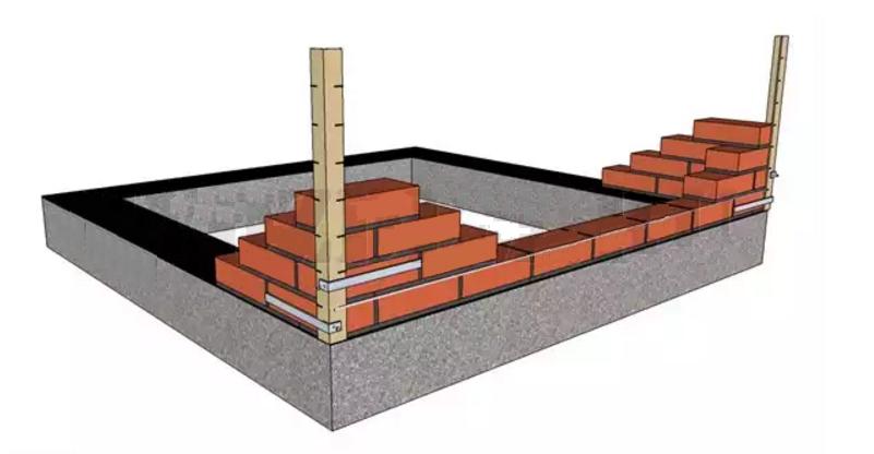 Выкладываем нижний ряд стены между углами