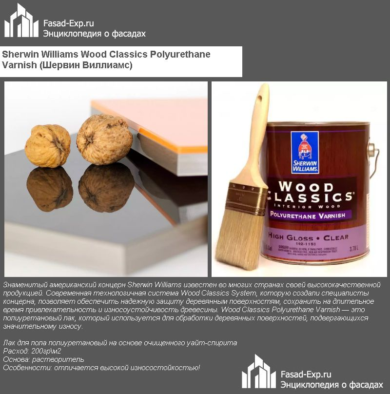 Sherwin Williams Wood Classics Polyurethane Varnish (Шервин Виллиамс)