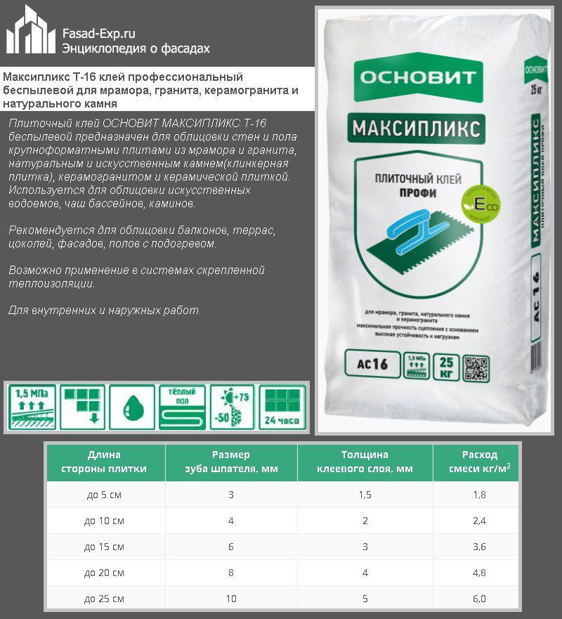 Максипликс Т-16 клей профессиональный беспылевой для мрамора, гранита, керамогранита и натурального камня