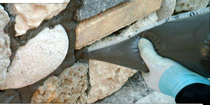 Заполнение шва между камнями