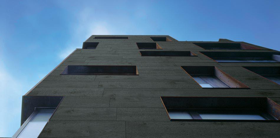 Фасадный вентилируемый керамогранит с эффектом дерева