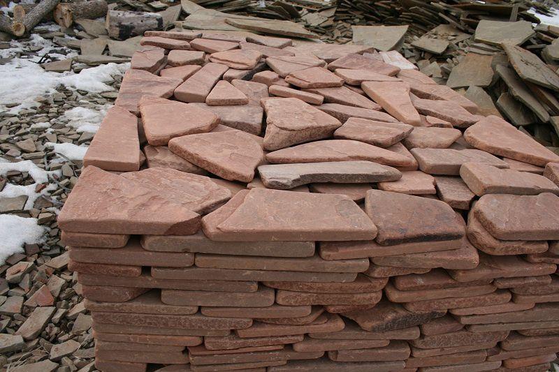 Камень песчаник пластушка галтованный толщина 2 см цвет терракотово-красный