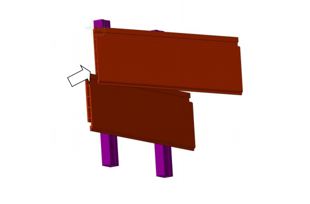 Немного прогнув панель по центру наложить торцы панели  замковыми частями