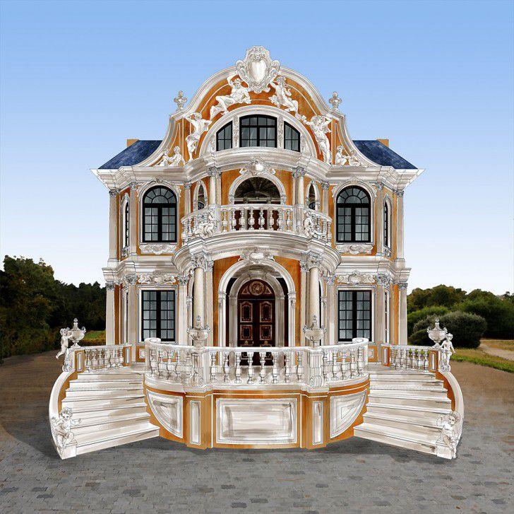 Проект дома, стены богато украшены лепниной