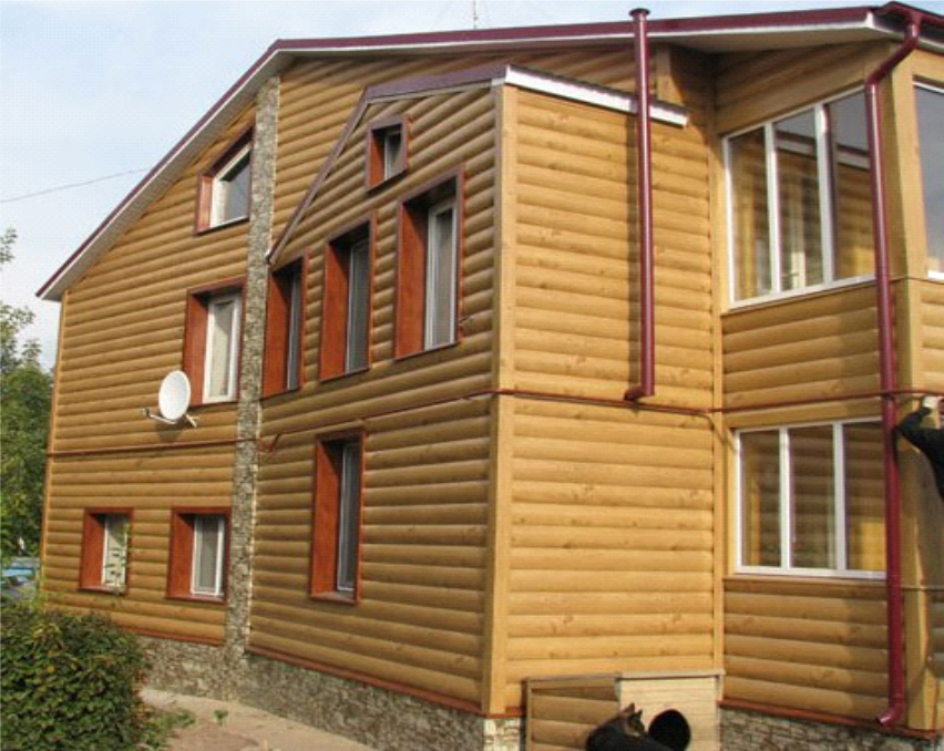 Сайдинг блок хаус металлический, оттенок Золотой дуб