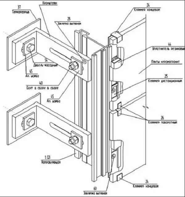 Схема сборки элементов подконструкции и плит керамогранита. Вариант 1