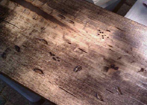 Состаренное дерево, хорошо подчеркнууты бороздки от топора