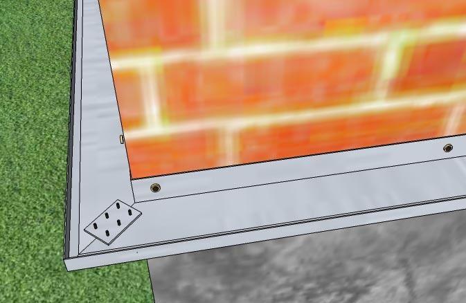 Вариант скрепления углов профиля - под 45 градусов, с помощью пластины и саморезов