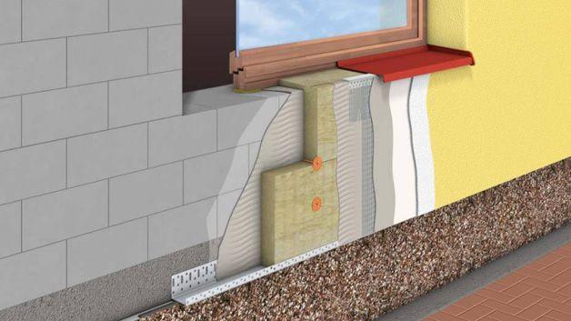 Фасад мокрого типа. Цокольный профиль