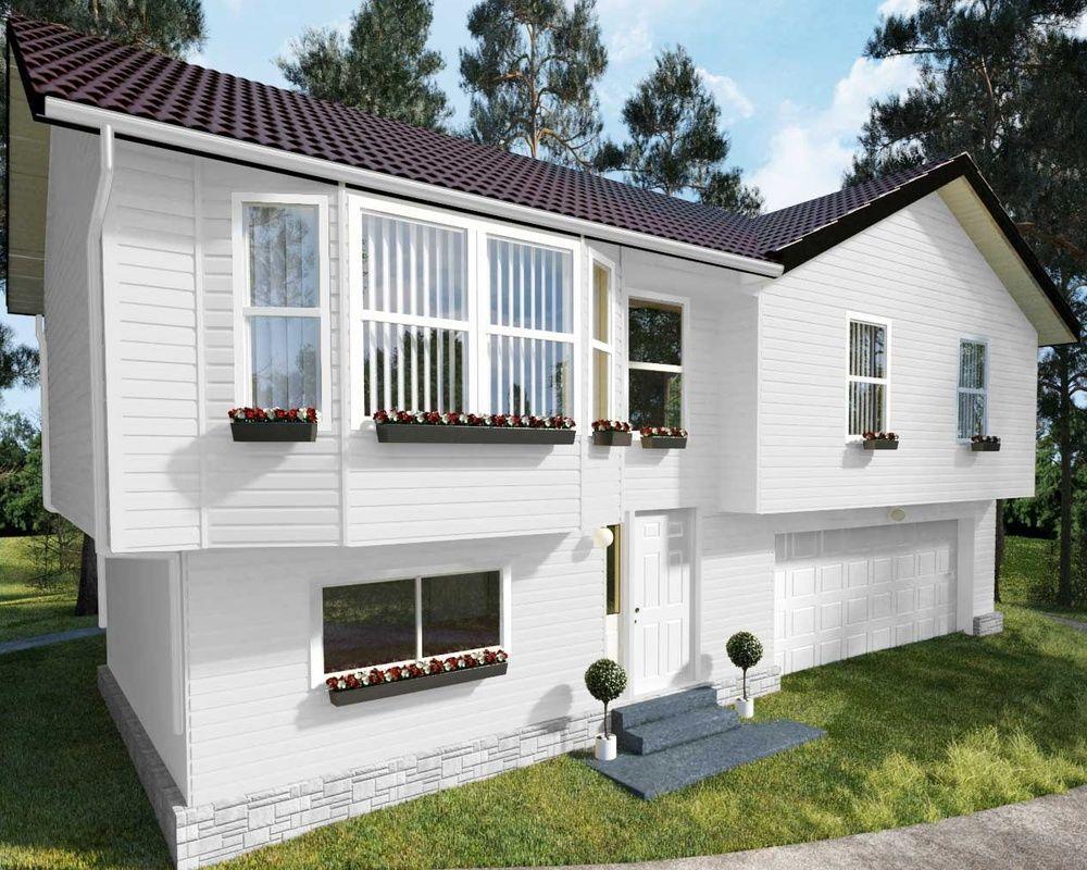 На фото изображен загородный дом, фасад которого обшит белым виниловым сайдингом