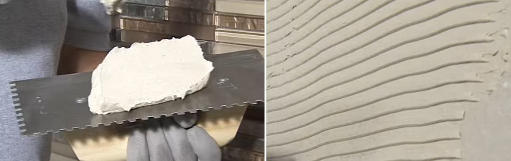 Накладывайте смесь на шпатель и формируйте бороздки на стене