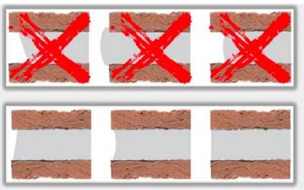 Не рекомендуется применение незаполненных до конца швов, так как в них собирается влага и грязь