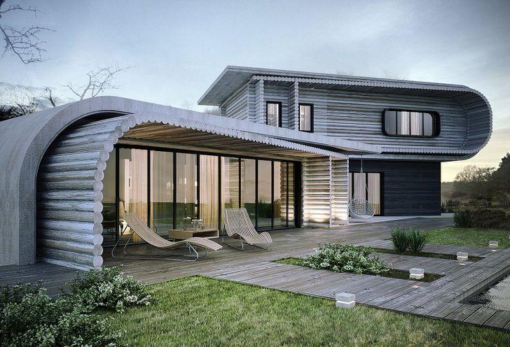 Необычное решение для стиля хай тек. Дом построен из деревянного сруба