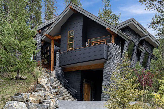 Окрашенный деревянный дом - фото