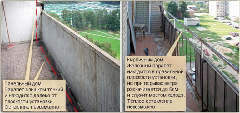 Парапет балкона в панельных домах.