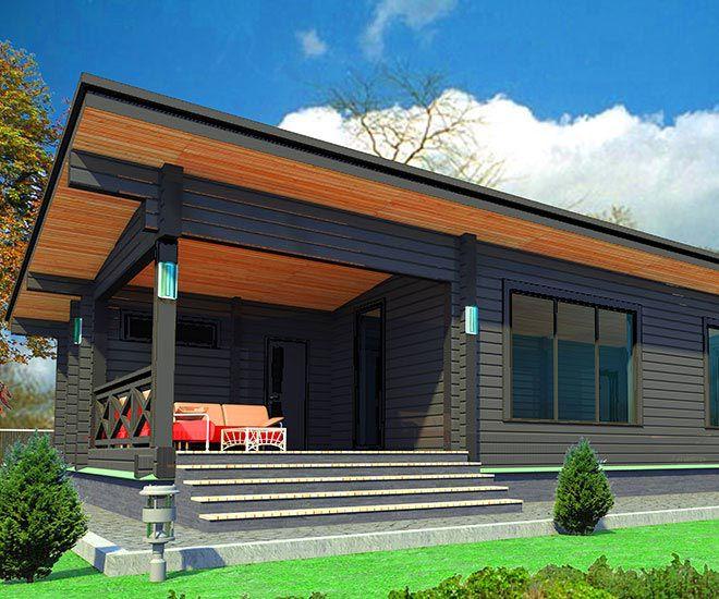 Проект дома из профилированного бруса, стиль хай-тек