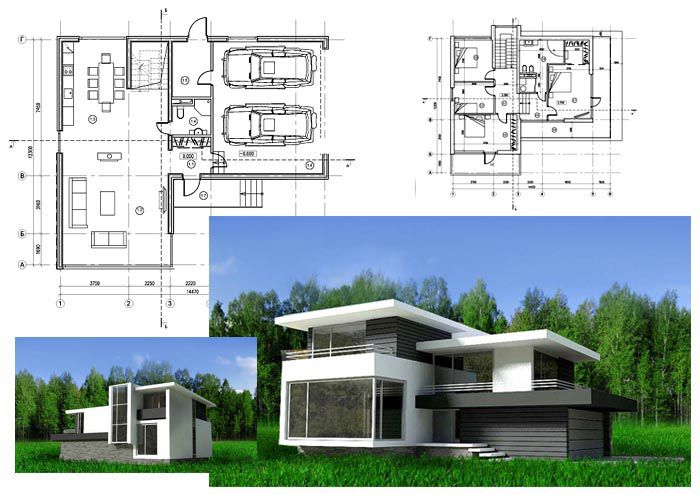 Проект загородного домас панорамными окнами в стиле минимализм