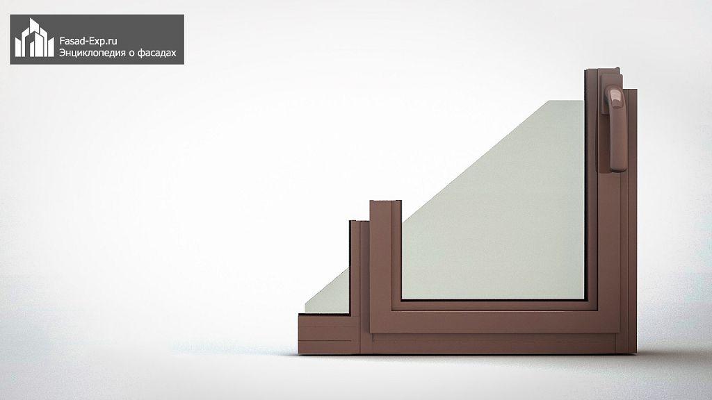 Прямой фасад стоечно-ригельной конструкции, открывающаяся внутрь створка