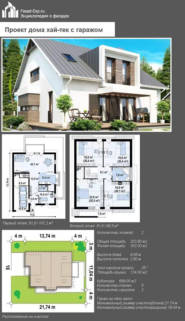 Проект дома хай-тек с гаражом