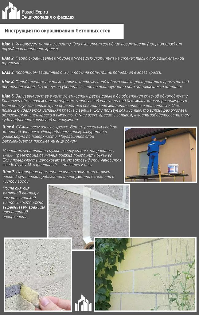 Инструкция по окрашиванию бетонных стен