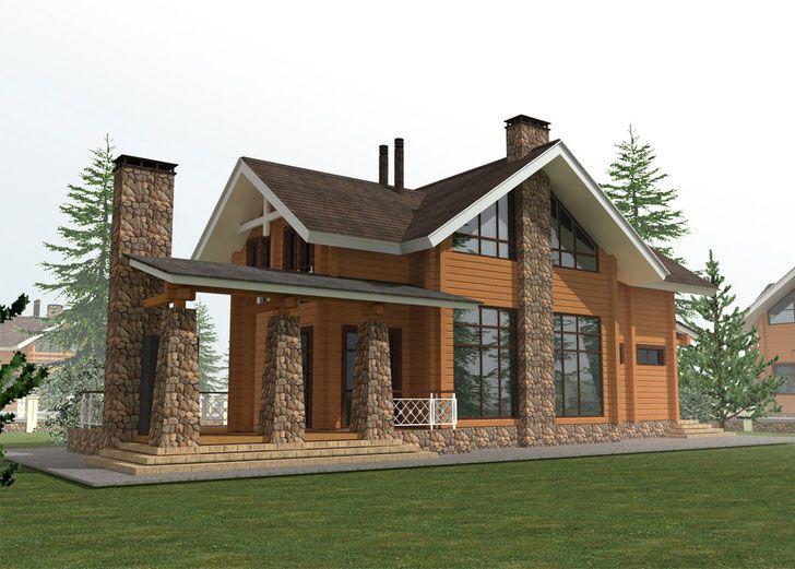 Большой классический дом в сочетании со стилем шале Дизайн проект гостевого дома стиль шале