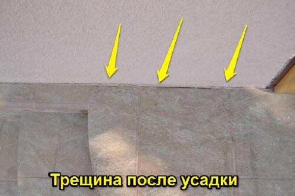 На фото – последствия неправильного изготовления фундамента