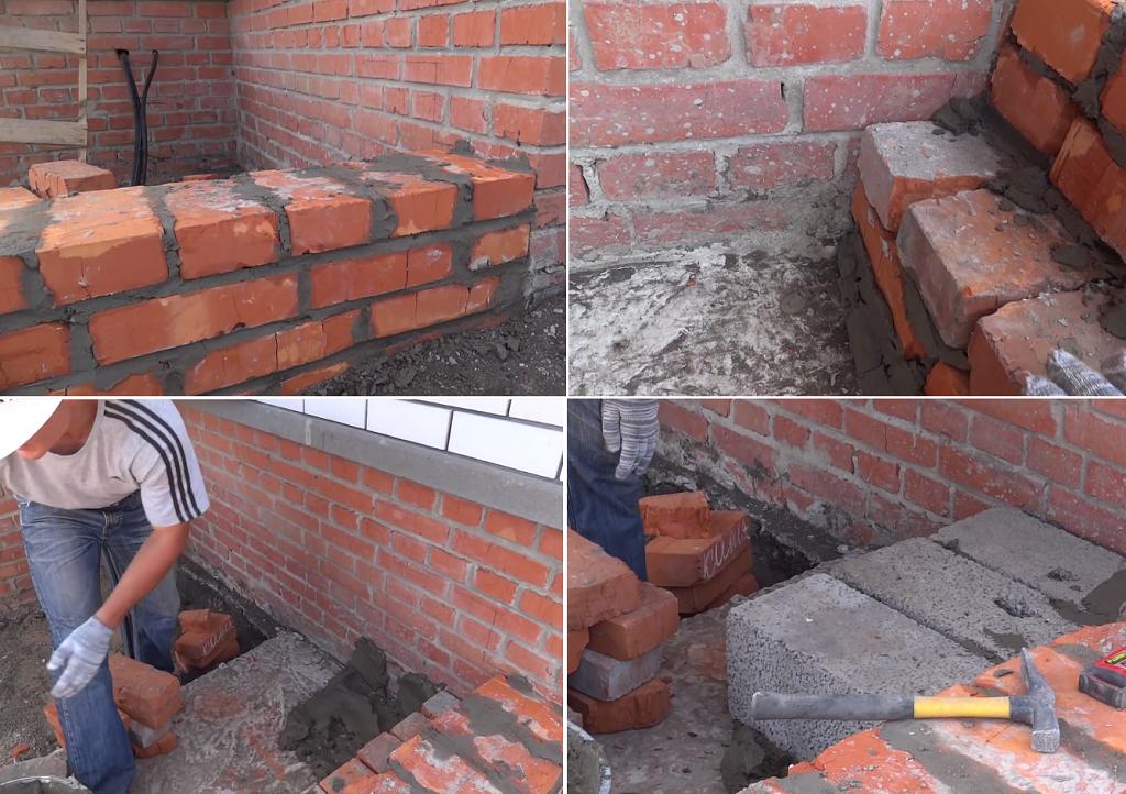 На фото первая ступень и заполнение свободного пространства блоками
