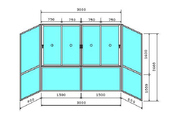 Пример схемы французского остекления балкона