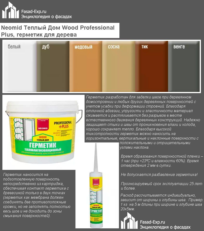 Neomid Теплый Дом Wood Professional Plus, герметик для дерева