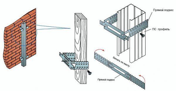 На изображении показан кронштейн, с помощью которого осуществляется закрепление обрешетки под сайдинг на основной стене дома. Он успешно применяется как для каркаса из дерева, так и для конструкции, собранной из металлических профилей