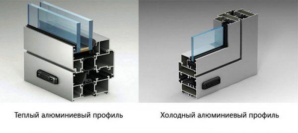 Разрез «теплого» и «холодного» оконных алюминиевых профилей. Первый отличается от второго наличием двух стекол с воздушной прослойки и теплоизолирующей прокладки между внешней и внутренней стороной