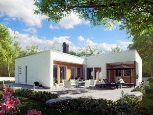 Дом, отделанный штукатуркой в стиле модерн со стороны сада