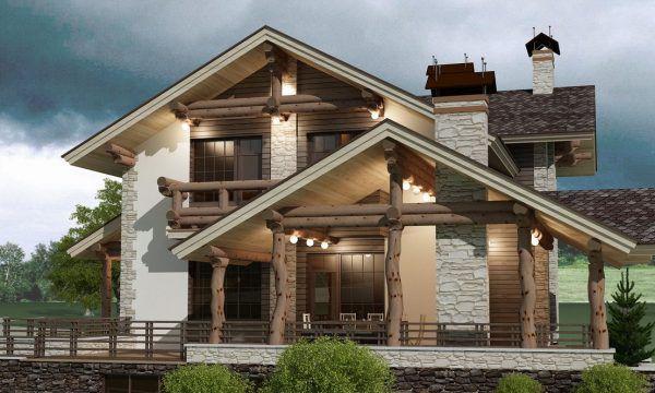 Фасад дома в стиле шале