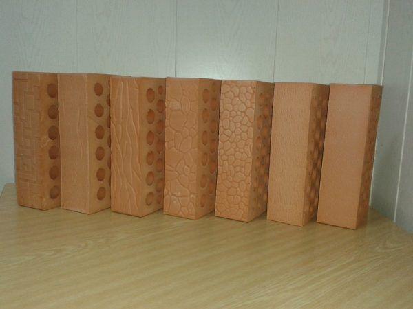 Кирпич керамический облицовочный полуторный, 9 видов фактуры